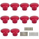 Marstree 10pcs Vintage Ceramic Door Knobs Round Shape Drawer Cupboard  Locker Pulls Handles Wardrobe Drawer Cabinet Home Kitchen Hardware (Red)