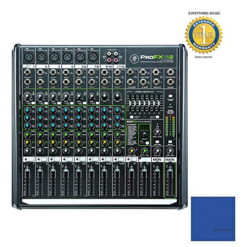 - Mackie ProFX12v2 12-Channel Professional Effects Mixer with USB and 1 Year Free Extended Warranty