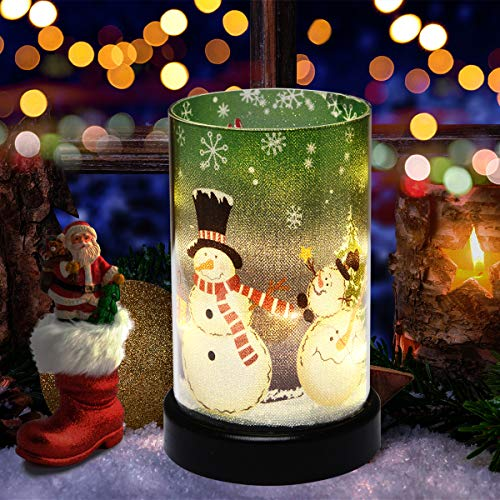 Jiabang Battery Powered Holiday Flavor Glass Cylinder Lamp Glass Candle Lamp Mood Light Christmas Gift Christmas Decoration for Home Bedroom Livingroom Café Party Celebration