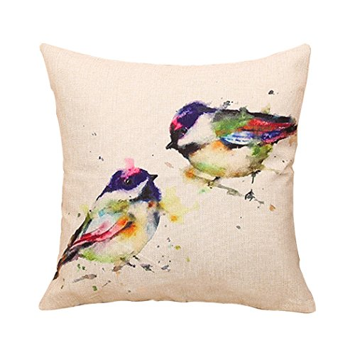 ME COO Fashion Ink Painting Bird Linen Pillow Case Cute Colorful Bird Trees Pillowcase Decorative Throw Cushion cover pillow covers 18×18Inches 1pcs