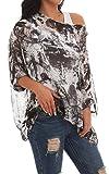Womens Off Shoulder Batwing Sleeve Semi Sheer Tops Blouse Deep Brown