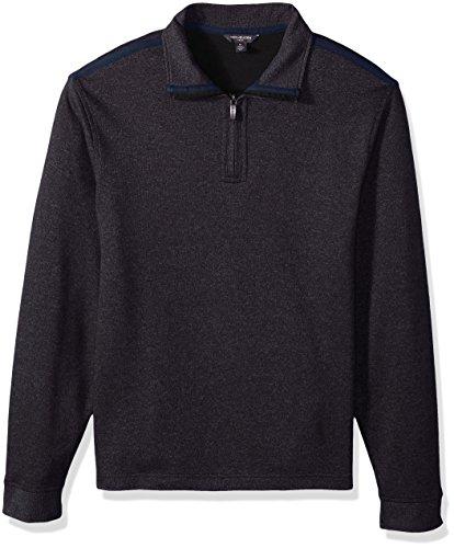 Neck Zip Fleece Shirt (Van Heusen Men's Long Sleeve Spectator Solid 1/4 Zip Shirt, Blue Monday, 2X-Large)
