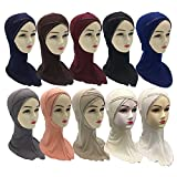 12 Pieces/Pack 10 Mix Colors Imitated Rhinestones Decorated Muslim Arab Cotton Hijabs Scarves (Sort B)