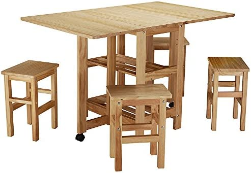 Panana Butterfly Folding Dining Set Burlywood Distressed Waxed Pine Folding Drop Dining Set 1 table+4 chairs