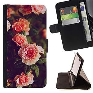 Momo Phone Case / Flip Funda de Cuero Case Cover - Rosas Rosa Blanca de Bush Jardín - Samsung Galaxy S6 EDGE