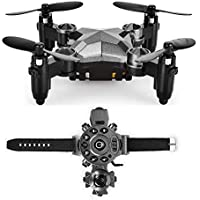 Top Race Foldable Mini Drone, with Altitude Hold, Headless Mode and 1 Key Return, WristWatch Design Transmitter and Case