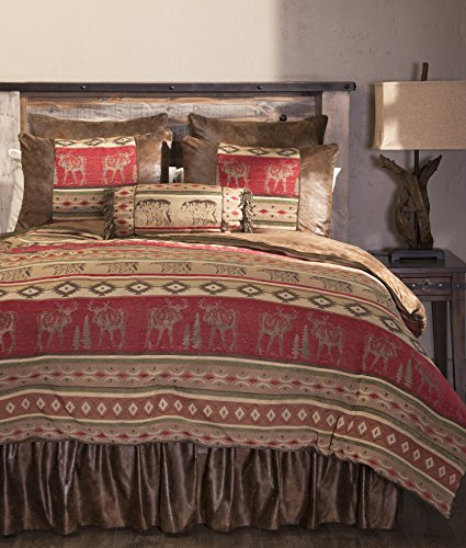 Carstens Queen Adirondack 5 Piece Comforter Bedding Set, Brown