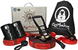 ZenMonkey Slacklines Kit with Training Line, Arm Trainer, Pro-grade Ratchet, Heavy Duty Tree Protectors, Cloth Carry Bag and Instructions, 60 Foot - Easy Setup for the Family, Kids and Adults