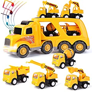 Best Epic Trends 51T2VfVpGxL._SS300_ ArgoHome Construction Truck Set with Sound and Light, Transport Cargo Car Toy Play Set, Play Vehicles in Friction…