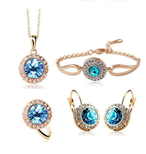 ACEFEEL JEWELRY Sale At Cut-throat Prices Cheap Crystal Earring Necklace Ring Bracelet Jewelry Set