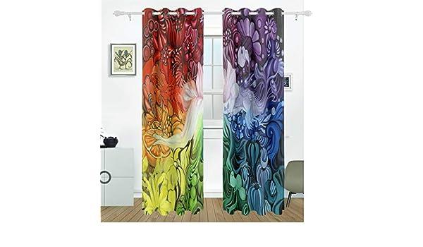 FANTAZIO Cortina opaca para ventana, colorida, diseño de arco iris, con aislamiento térmico, para oscurecer la habitación, bloqueador solar, cortinas/cortinas, juego de 2 paneles: Amazon.es: Hogar