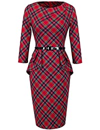 Women's Vintage Tartan Wear to Work Bodycon Dress B267