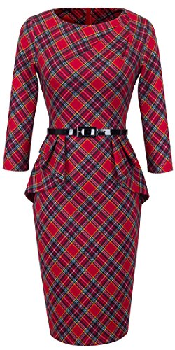 HOMEYEE Women's Vintage Tartan Wear to Work Bodycon Dress B267 (M, Red) ()