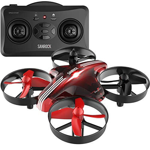 SANROCK Drone for Kids, RC Mini Drone Toy for Boys Girls GD65A Quadrocopter Helicopter Plane with Altitude Hold, Headless Mode, 3D Flip, Return Home Function, RTF 4 Channel 2.4G 6-Gyro Remote Control