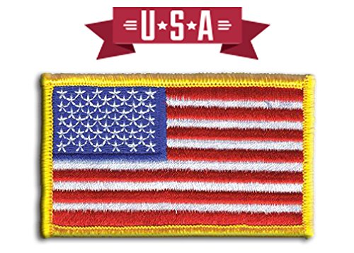 Fire Rescue Patch - American Flag Patch, U.S. Flag Patch Embroidered Patch white border USA Patch United States of America, sew on, Gold Border