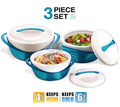 Pinnacle Casserole Dish - Large Soup and Salad Bowl Set - Insulated Serving Bowl With Lid - 3 Pc. Set Teal