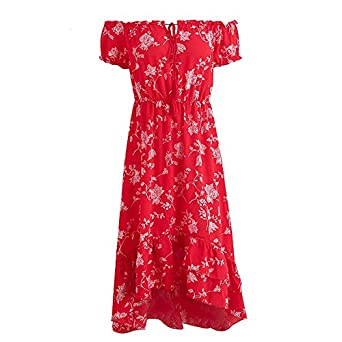 Eric Hug Elegant Off Shoulder Floral Print Dress Women Lace up Sexy Long Dress Ruffles Beach