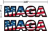 "Flag MAGA, 2-pack, 1"" tall X 3.85"" wide, I Make Decals®, lunch box, tool box, phone, Hard Hat, vinyl, decal car sticker"