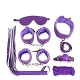 Mcupper-New Bondage Kit Fetish Bed Restraint Cuffs Collar Adult Sex Toy Set Kinky Restaints (Purple)