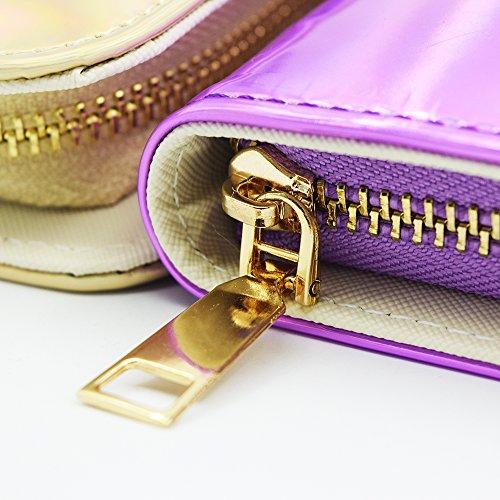Wallet Women Hologram Magibag Holder Purple Long Around Purse Clutch Card Zip ETgpqp