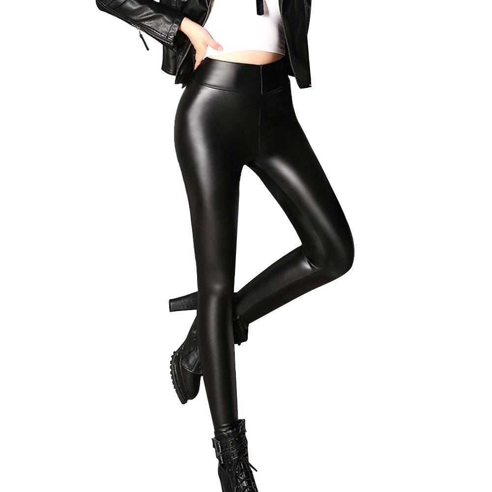 Womens Sexy Black Faux Leather Leggins Pants High Waisted Tights (S Fit Waist 26''-28''/Hips 34''-37'')