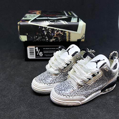06637d6f4 Pair Air jordan III 3 Retro White Flip Cement OG Sneakers Shoes 3D Keychain  1 6 Figure + Shoe Box