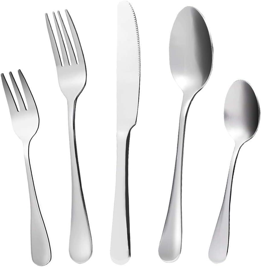 Silverware Set, KMEIVOL Flatware Set, 20-Piece Silverware Flatware Cutlery Set, Mirror Polished Forks and Spoons Set, Reusable Stainless Steel Silverware Set, Portable Utensils, Dishwasher Safe