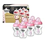 Tommee Tippee Closer to Nature 260ml PINK Decorated Baby Feeding Bottles 6 Pack