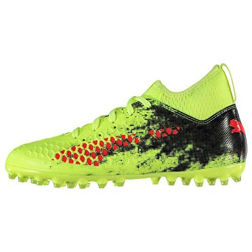 Puma Future 18.3 MG Jr, Zapatillas de Fútbol Unisex Niños Fizzy Yellow-Red Blast-Puma Black