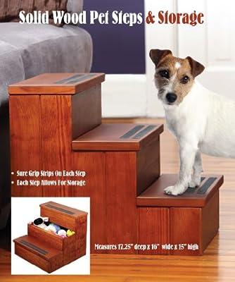Pet Store Solid Wood Steps & Storage Non Slip Steps Storage Under Each Step