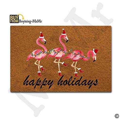 MsMr Doormat Entrance Mat Funny Doormat Home Office Decorative Door Mat Indoor/Outdoor Rubber Mat, Christmas Flamingo Happy Holidays Designed 23.6