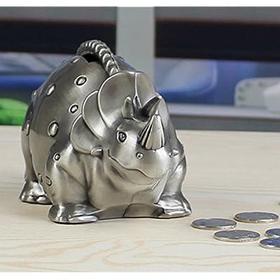 FUYU Creative Metal Cartoon Retro Dinosaur Piggy Bank Coin Bank Saving Pot Money Box: Toys & Games