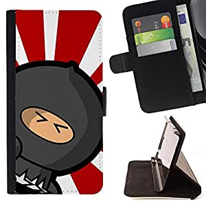 Momo Phone Case / Flip Funda de Cuero Case Cover - Rising Sun Japanese Ninja Warrior - HTC One M8