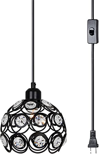 Lampundit Plug-in Crystal Pendant Light with 15.9 Cord, On Off Switch, 1-Light, Black
