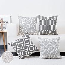 baibu 100% Cotton Decor Sofa Throw Pillow Case Embroidery Grey Cushion Cover for Bed,Chair,Sofa Set of 4