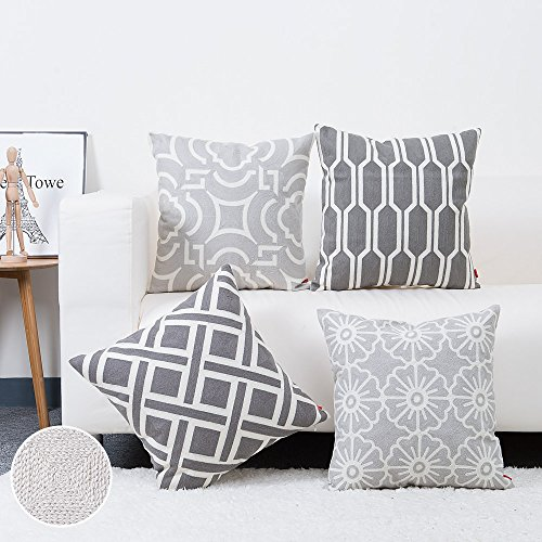 Baibu 100% Cotton Decor Sofa Throw Pillow Case Embroidery Grey Cushion  Cover For Bed,Chair,Sofa Set Of 4