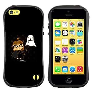 Fuerte Suave TPU GEL Caso Carcasa de Protección Funda para Apple Iphone 5C / Business Style Funny Cute Girl & Ghost
