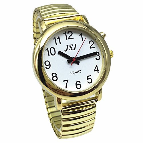 (French Talking Watch for Blind People or The Elderly and Visually Impaired People with Alarm of Quartz, Talking Date and time, Golden Color, White Face)