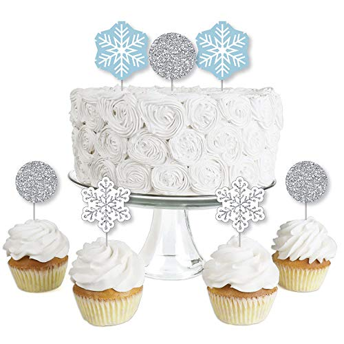 Winter Wonderland - Dessert Cupcake Toppers - Snowflake Holiday Party & Winter Wedding Clear Treat Picks - Set of 24