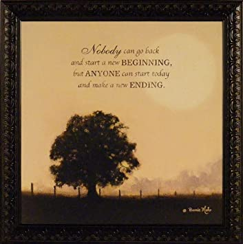 New Ending By Bonnie Mohr 21x21 Inspirational Quote Tree Framed Art Print  Wall Décor Picture