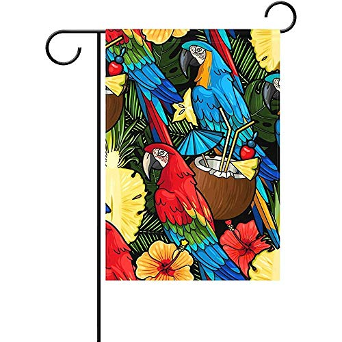 SGBTJKU Double Sided Premium Garden Flag 12 x 18 Inches Duble Sided Colorful Macaw Parrot and Tropical Cocktail Coconut Milk Palm Tree Pineapple Flower Floral Polyester Garden Flag ()