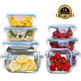 AILTEC 1 8979 18 Piece Food Storage Lunch Airtight Locking Lids, Glass Meal Prep Containers BPA-Free, for Home Kitche, Clear