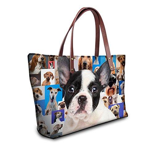 Showudesigns Fashion French Bulldogs Womens Tote Purse Handbag with Pocket by Showudesigns