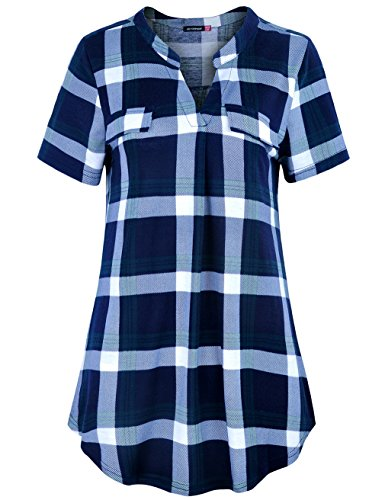 Le Vonfort Checks Top for Women, Comfy Shirt Henley Short Sleeve Tunic Business Casual Plaid Polo Shirts Blouses for Summer (Sapphire Green, Large) -