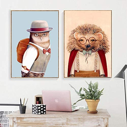 ウォールアートプリント写真キャンバス漫画動物ホークハリネズミ現代家の装飾ブランド絵画リビングルーム-50x70cmx2個フレーム