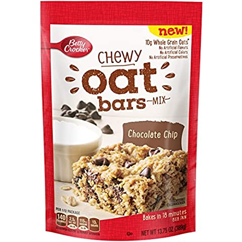 Betty Crocker Baking Chocolate Chip Chewy Oat Bar Mix Pouch, 13.75 Ounce (Pack of 8) - Betty Crocker Chips