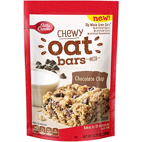 Betty Crocker Baking Mix, Chewy Whole Grain Oat Bars, Chocolate Chip, 13.75 Oz (Pack of 8) Chewy Chocolate Cookies