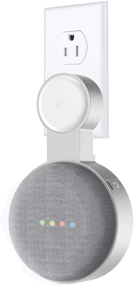 Molitececool Wall Mount Holder for Google Home Mini- Magnet Outlet Holder Integrated Cable Management for Google Home Mini Voice Assistant Speaker Silver