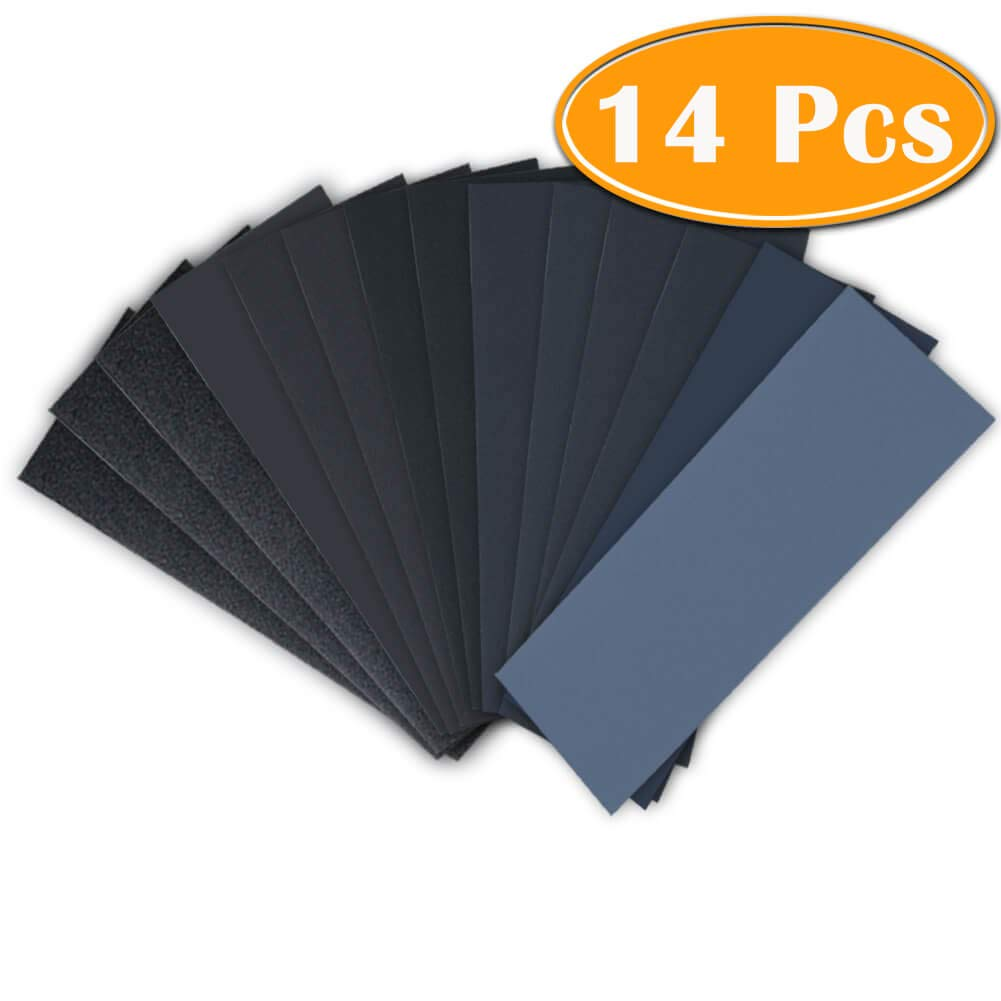 14Pcs Wet Dry Sandpaper 120 to 3000 Grit Assortment 9 3.6 Inches Abrasive Paper Sheets for Automotive Sanding, Wood Furniture Finishing, Wood Turing Finishing by Paxcoo Appex
