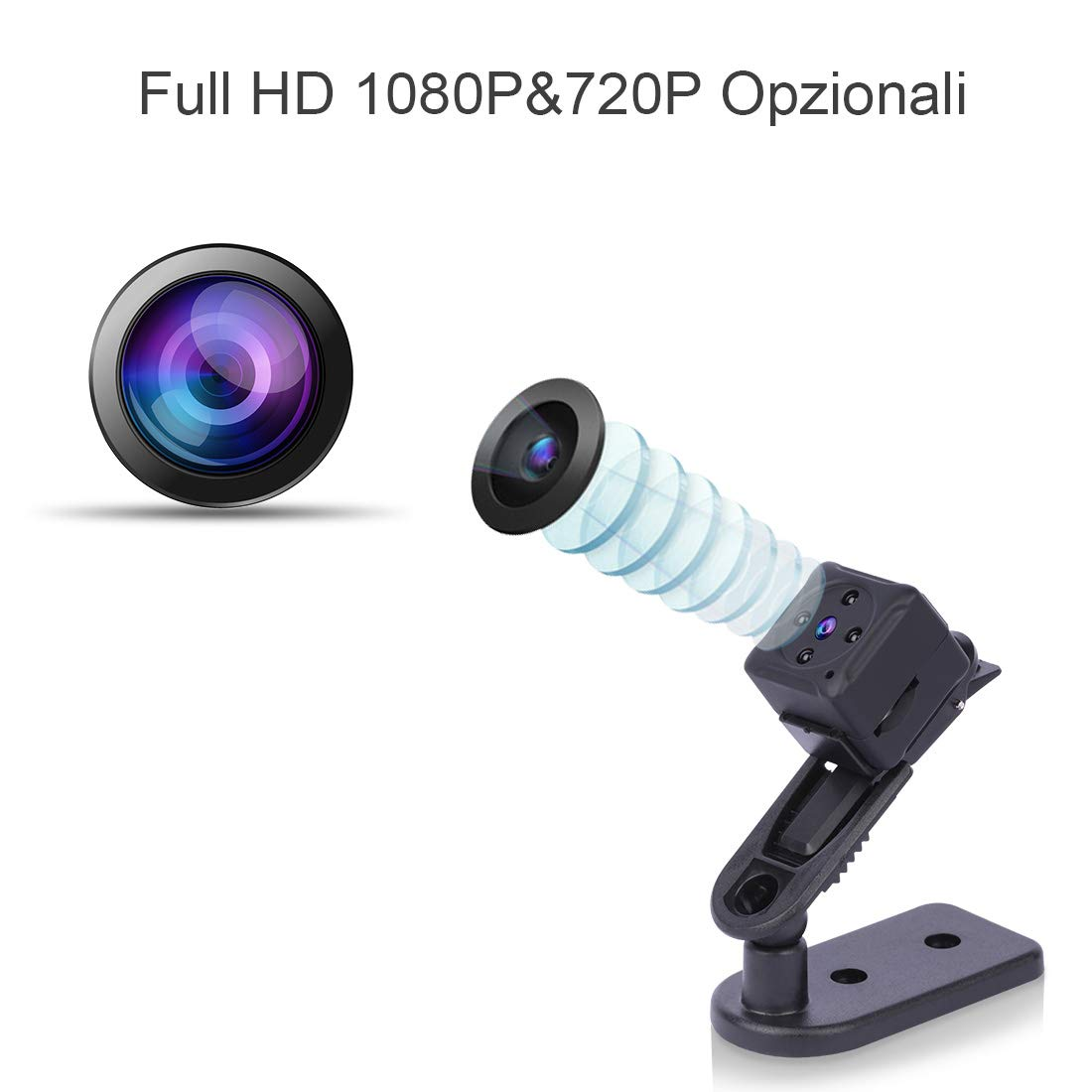 Senza Fili Esterno//Interno Spy Cam Piccola Microcamera Spia Micro Telecamera Spia Nascosta,NIYPS 1080P Portatile Mini Telecamera di Sorveglianza con Visione Notturna,Sensore di Movimento y Batteria